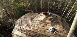 Reciprocal roof roundhouse project straw bale turf roof